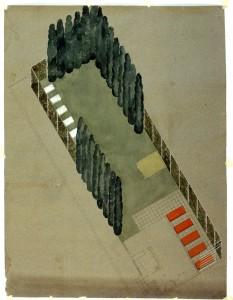 Jean Canneel-Claes, jardin de sa propre habitation, Auderghem, 1931. Axonométrie, encre et gouache. (Collection Archives d'Architecture Moderne, Bruxelle
