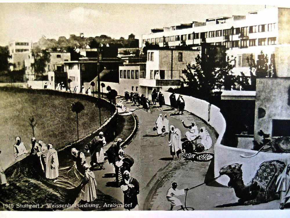 """Collage, réalisé aux fins de la propagande nazie, montrant le """"Weissenhof"""" de Mies van der Rohe envahi de bédouins. © DR"""