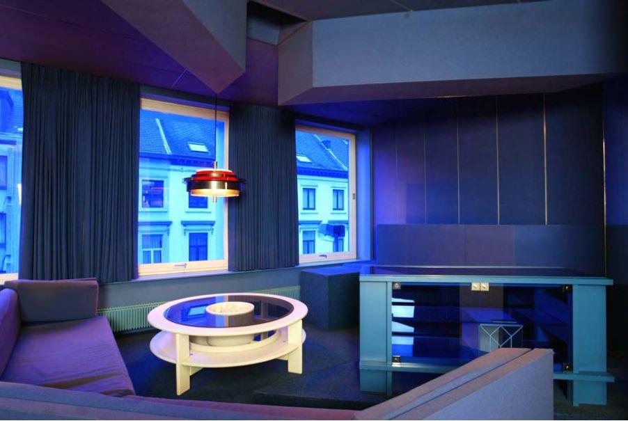 Pieter De Bruyne House: blue music room, <a href=