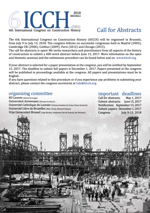 6th International Congress On Construction History 2018 Call For Abstracts