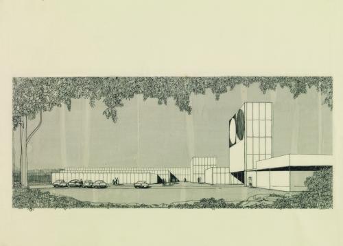 Ontwerptekening meubeltoonzaal St.-Antonius (nu Master Meubel), Turnhout, 1967. Beeld: Architectuurarchief Vlaanderen