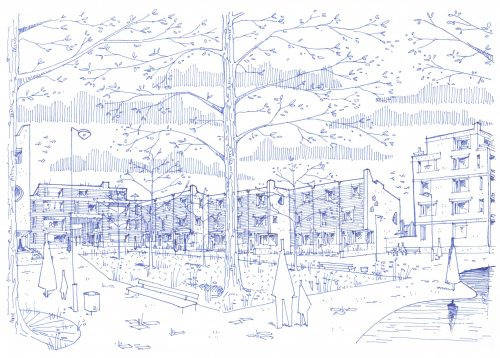 Een mogelijke toekomstschets van de nieuwbouw in de noordrand van de Arenawijk, richting de Herentalsebaan © CLUSTER – BULK architecten – KARUUR architecten – WIT architecten